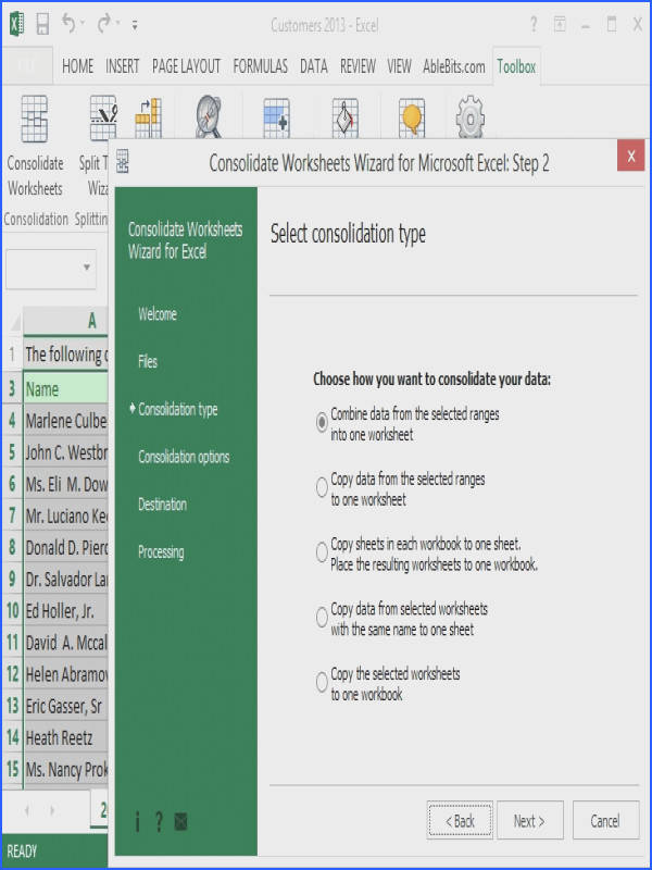 Consolidate Worksheets Wizard for Excel