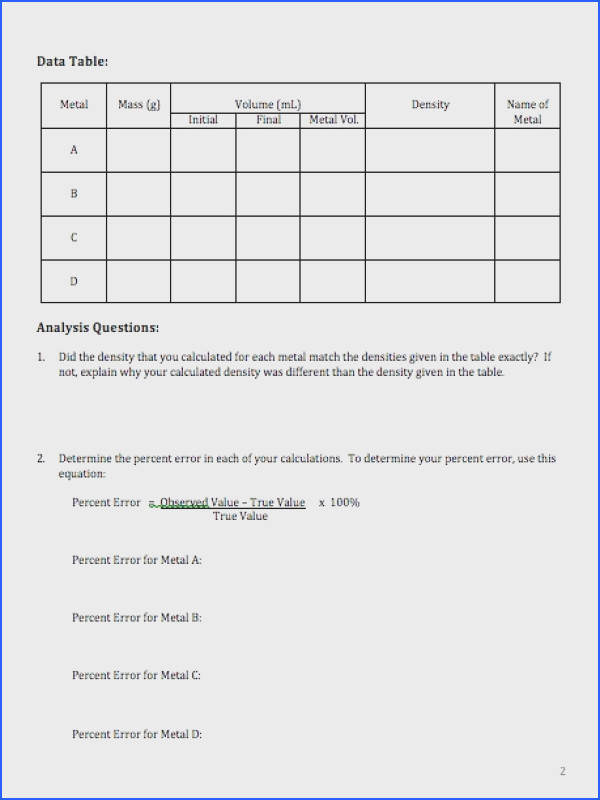 Middle School Density Worksheets With Answers Worksheets for all Download and Worksheets