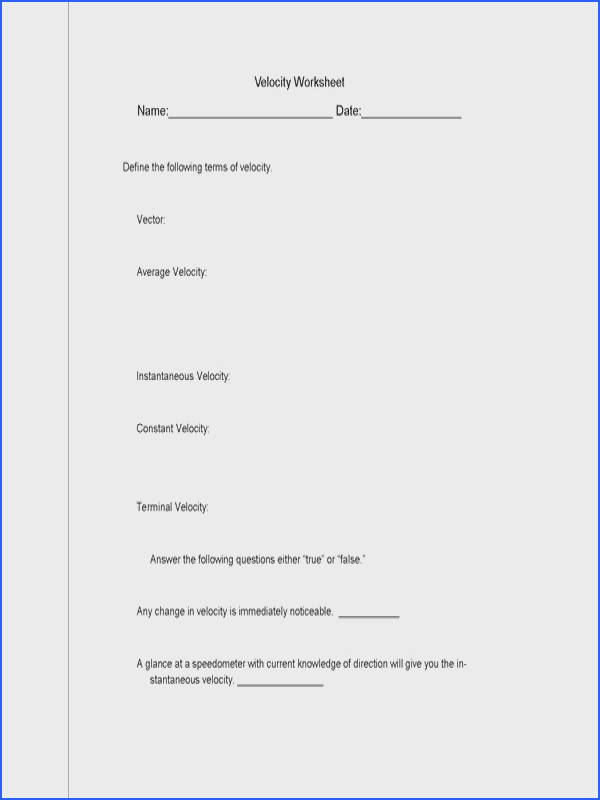 Middle School Physical Science Worksheets
