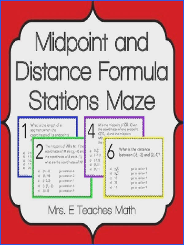 Midpoint and Distance Formula Stations Maze Activity