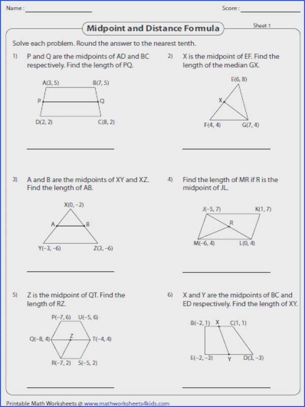 Midpoint And Distance Formula Worksheet With Answers Midpoint