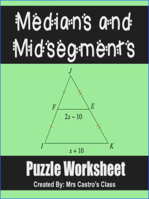 Midsegments and Medians of Triangles Puzzle Worksheet