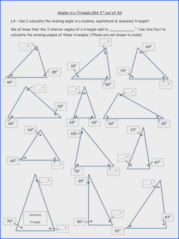 Adorable Missing Angles In Triangles Worksheet Tes For Your Angles In A Triangle Differentiated 4