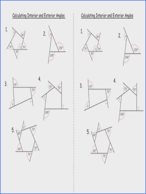 Cosy Missing Angles In Triangles Worksheet Tes With Interior And Exterior Angles Polygons By