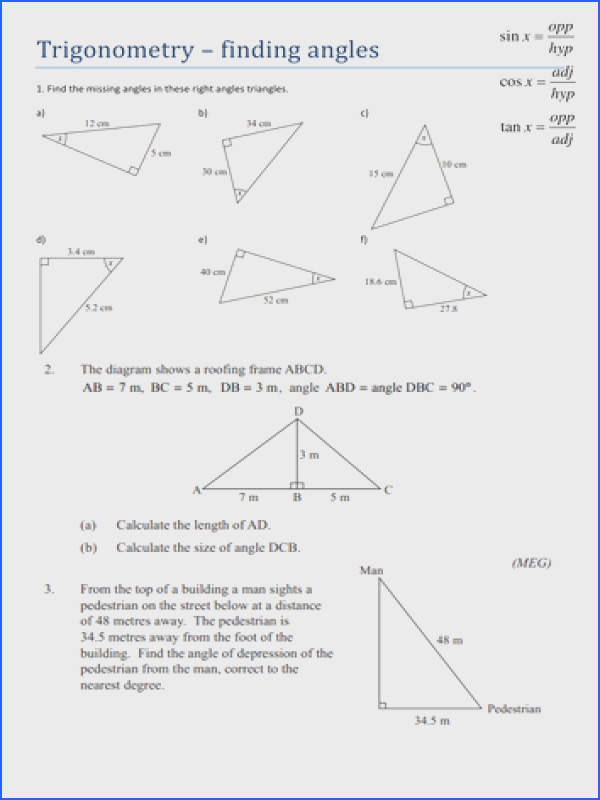 Missing Angles In Triangles Worksheet Tes Image Below Right Triangle Trig Worksheet