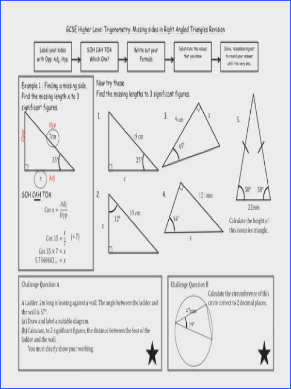 Chic Missing Angles In Triangles Worksheet Tes About Trigonometry In Right Angled Triangles By Madmaths11
