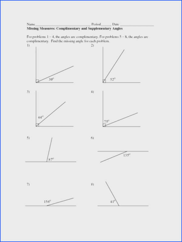 Missing Measures plimentary and Supplementary Angles Worksheet for 4th 6th Grade