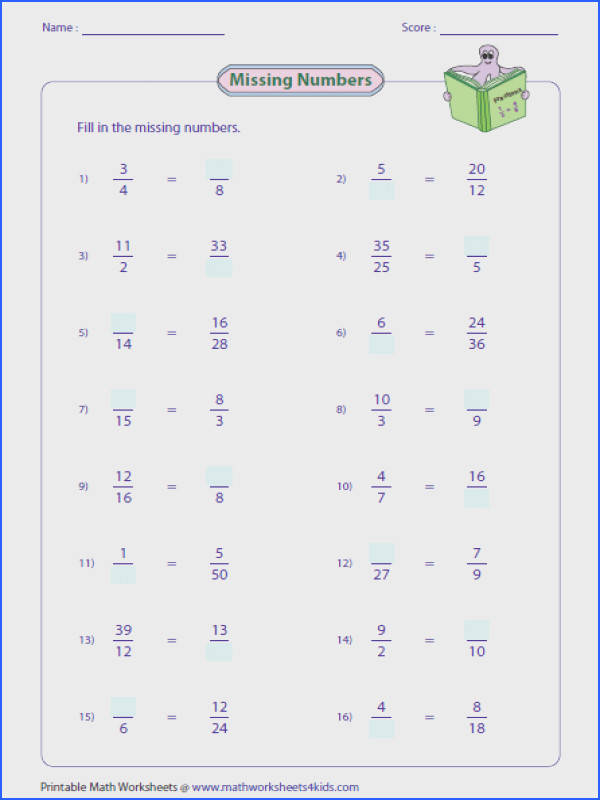 Missing Numbers Μαθηματικά Pinterest Image Below Equivalent Fractions Worksheets