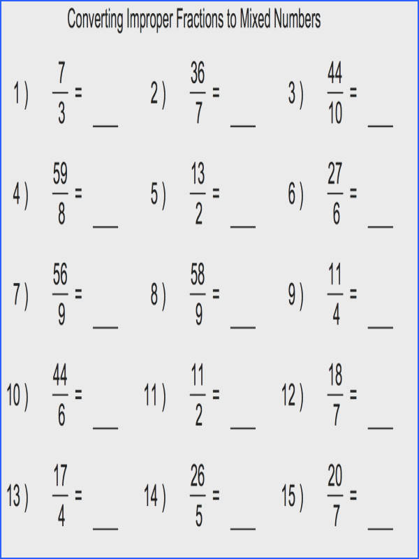 Converting Mixed Fractions to Improper Fractions A Fractions