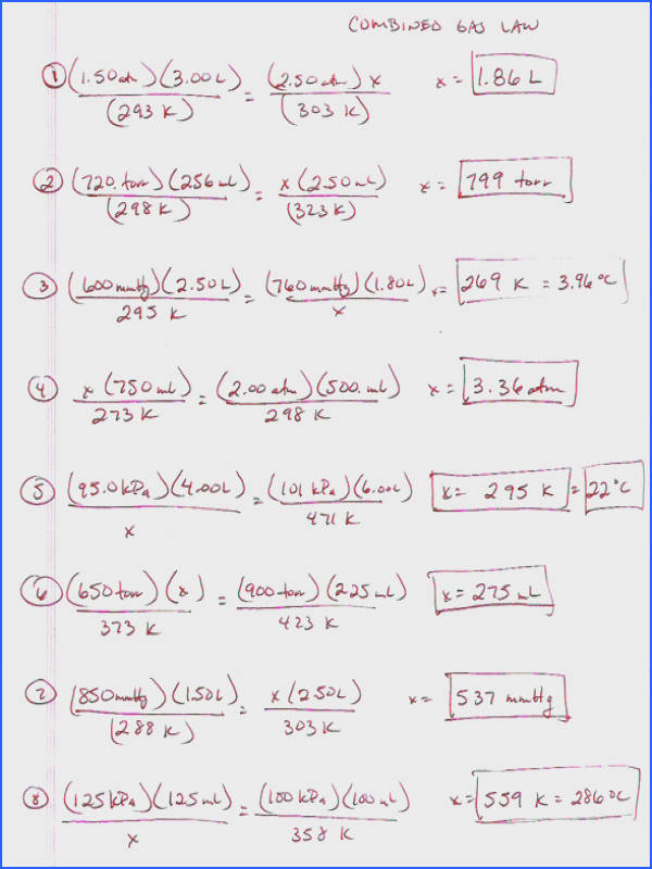 Ideal Gas Law Worksheet Answers Worksheets For All Download And