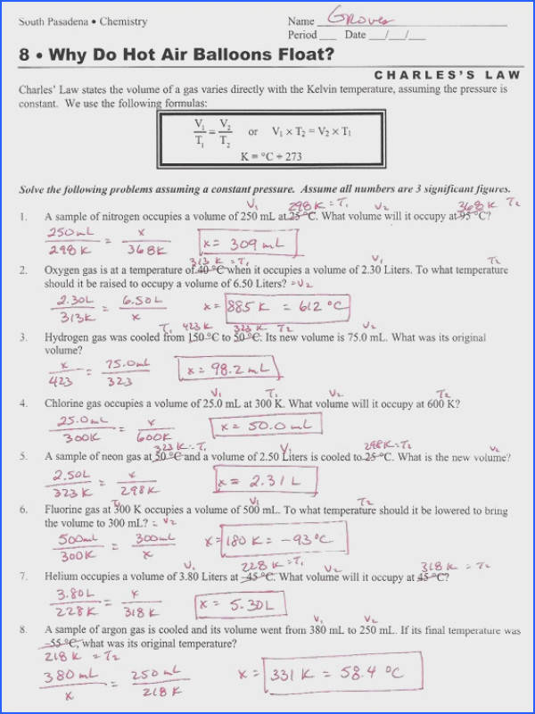 bined Gas Laws Worksheet bined Gas Laws Worksheet