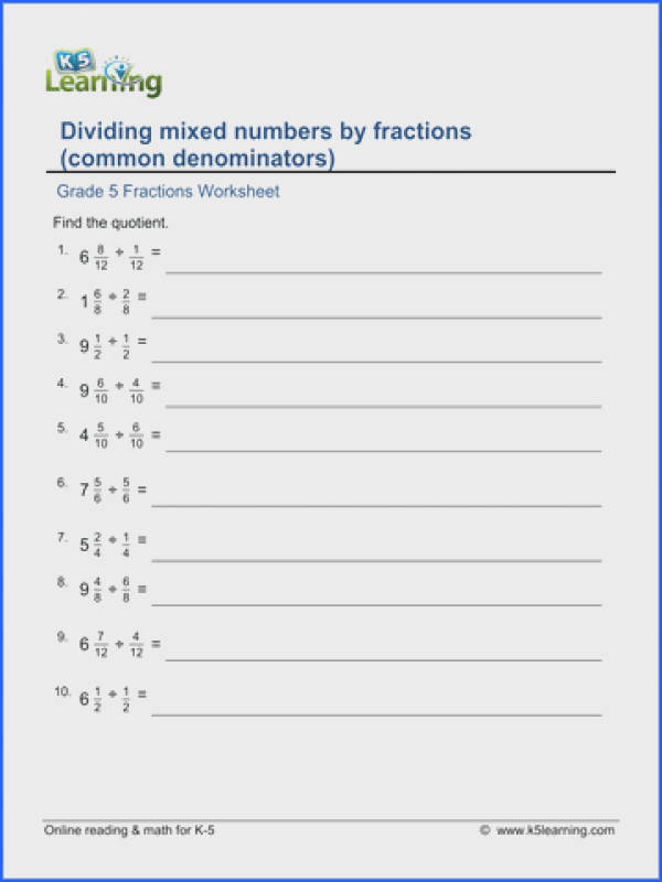 Dividing Mixed Numbers Practice Popflyboys Dividing Mixed Numbers Worksheets