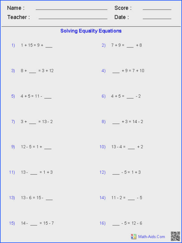 Solving Equality Equations Worksheets