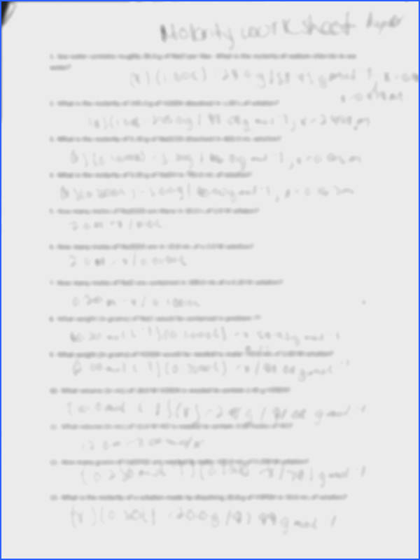 Molarity Worksheet Pre munity Printables Worksheets