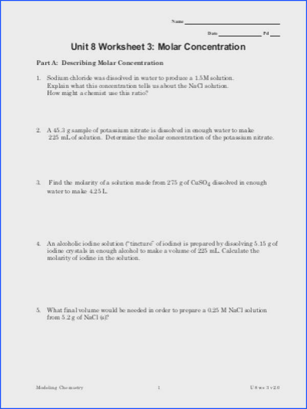 Molarity Practice Worksheet Unit 8 Worksheet 3 Molar Concentration