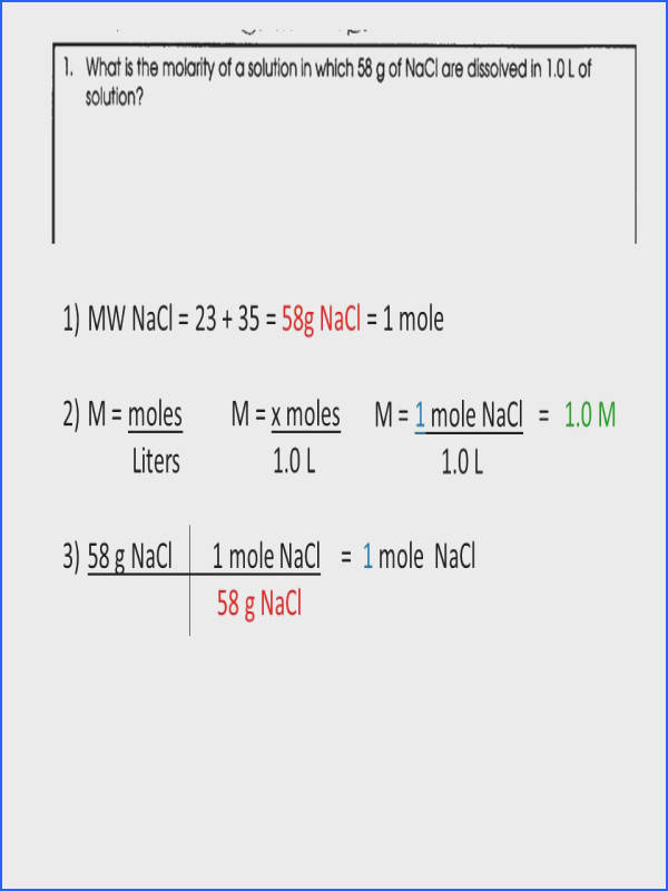 molarity worksheet molarity problems if worksheet 1mw nacl 58g nacl 1 mole ideas