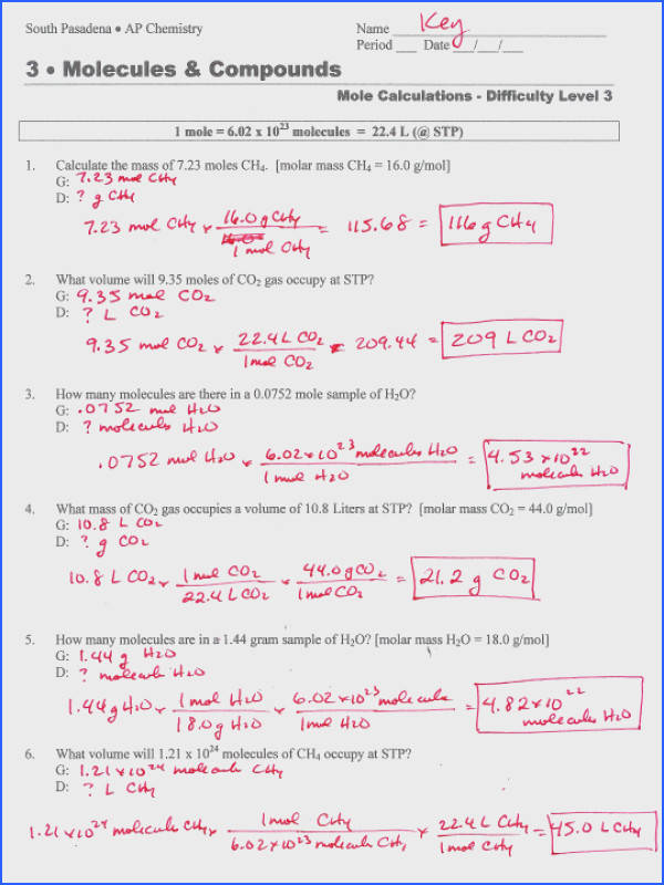 Mole Calculation Worksheet Answer Key Science Image Below Moles Worksheet