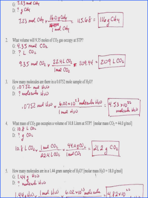 Mole To Grams Grams To Moles Conversions Worksheet Genius Mole To