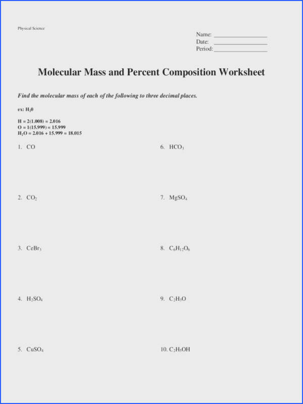 Molecular Mass and Percent position Worksheet Worksheet for 9th 12th Grade