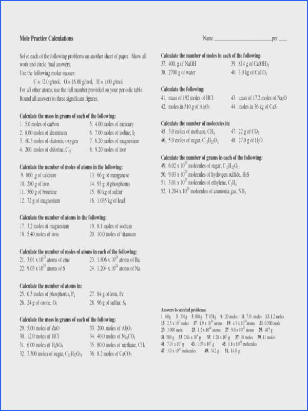 mole calculation worksheet checks worksheet