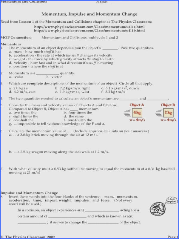 Worksheet Conservation Of Momentum Physics Fundamentals Answers