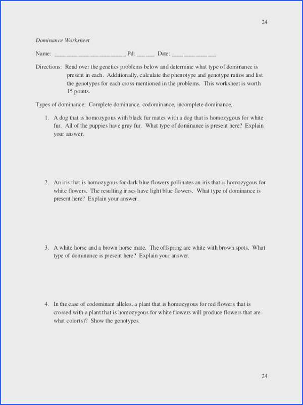 Monohybrid Cross Problems Worksheet With Answers Best The Law