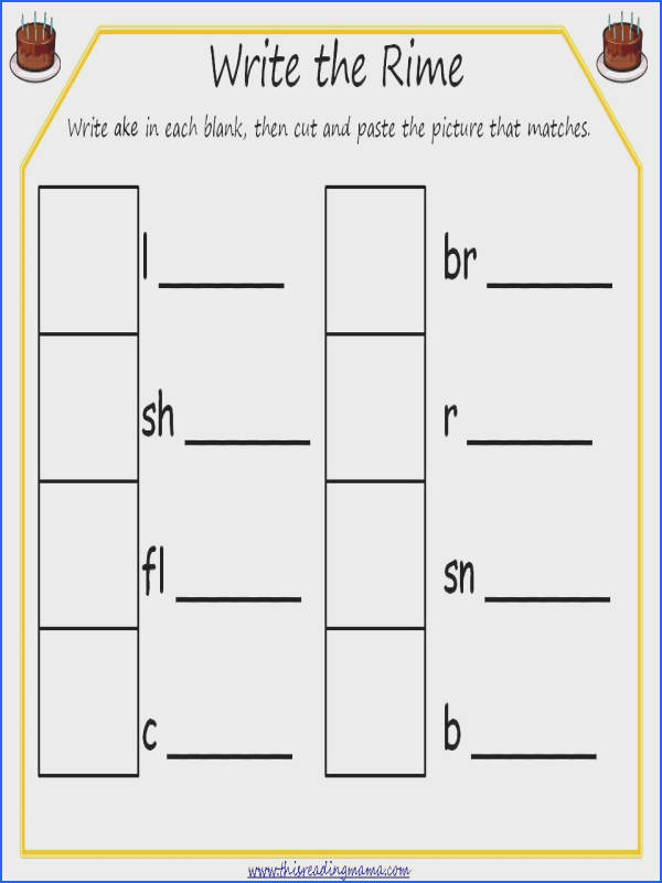 Free printables write the rime word family dominoes word family card game