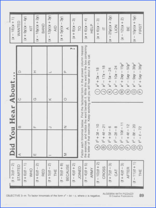 Full Size of Worksheet Template did You Hear About Math Worksheet Answers Algebra With Pizzazz