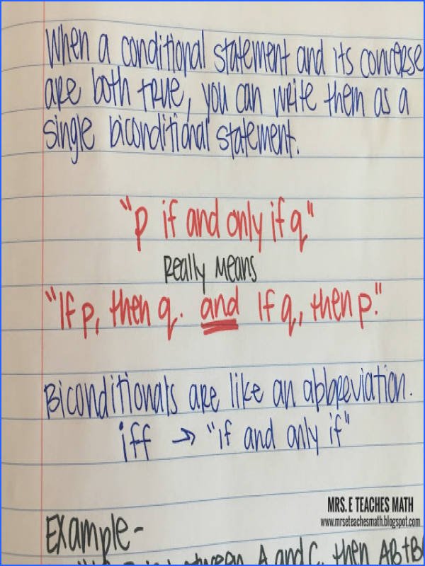 Mrs E Teaches Math Biconditional Statements Interactive Notebook Page for Geometry Logic