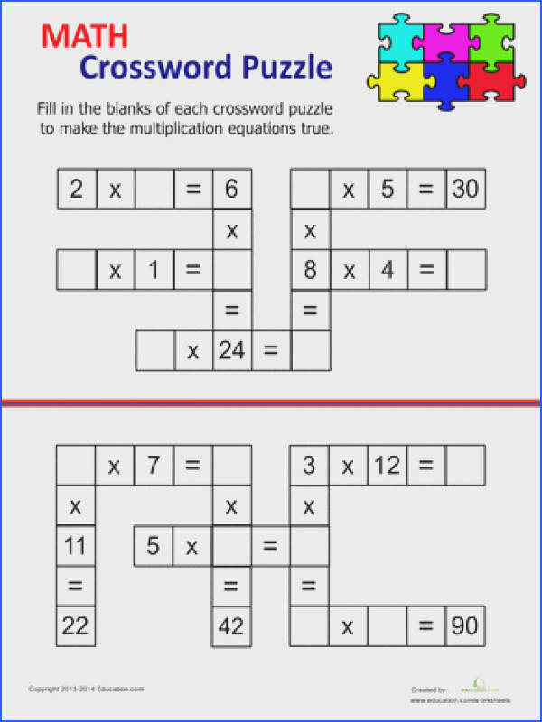 Multiplication Crossword Free Printable Multiplication WorksheetsKids Crossword PuzzlesLearning Multiplication Tables4th Grade