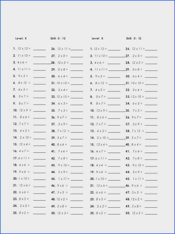Multiplication Drill Sheets To Print 2 50 Problems Worksheets for all Download and Worksheets
