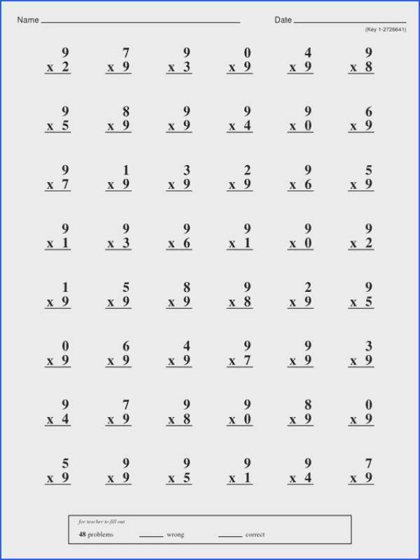 Mad Minute Multiplication Printable