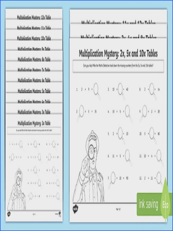 Multiplication Tables Missing Numbers Worksheet Activity Sheet worksheet