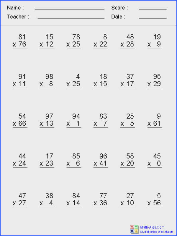 Zero to 99 Facts with Multiplication Worksheets