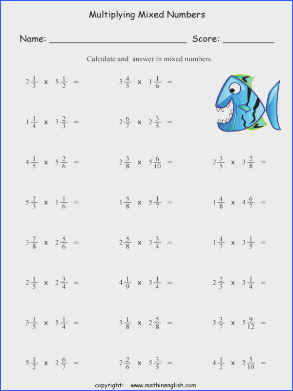 Multiplying Fractions And Mixed Numbers Worksheets Worksheets for all Download and Worksheets