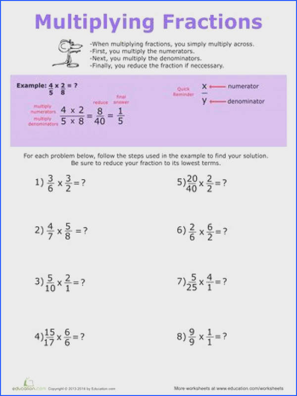 Multiplying Fractions with Whole Numbers Worksheets Matematyka Pinterest
