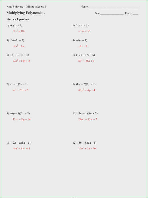 Multiplying Polynomials Worksheet Algebra 1 Worksheets for all Download and Worksheets