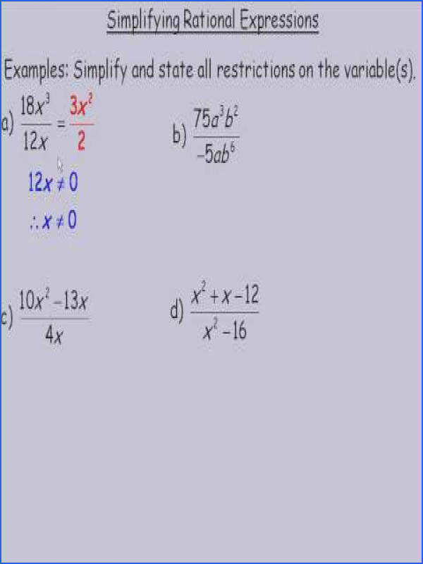 This lesson shows how to simplify rational expressions This was a lesson created for the