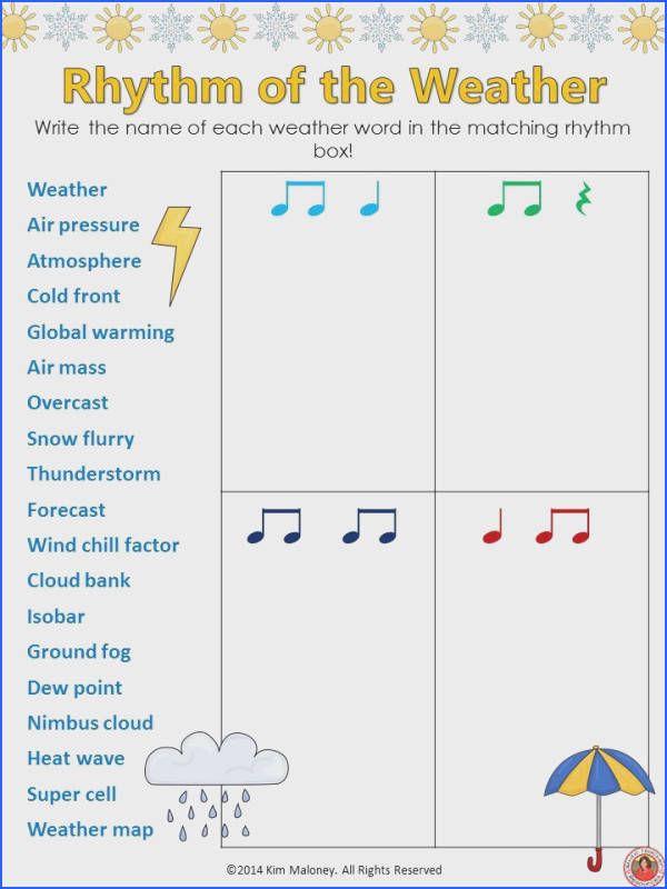 12 RHYTHM worksheets SET 4 Students are to match the name of the given words to