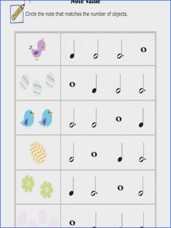Music Worksheets Easter Note Value 001