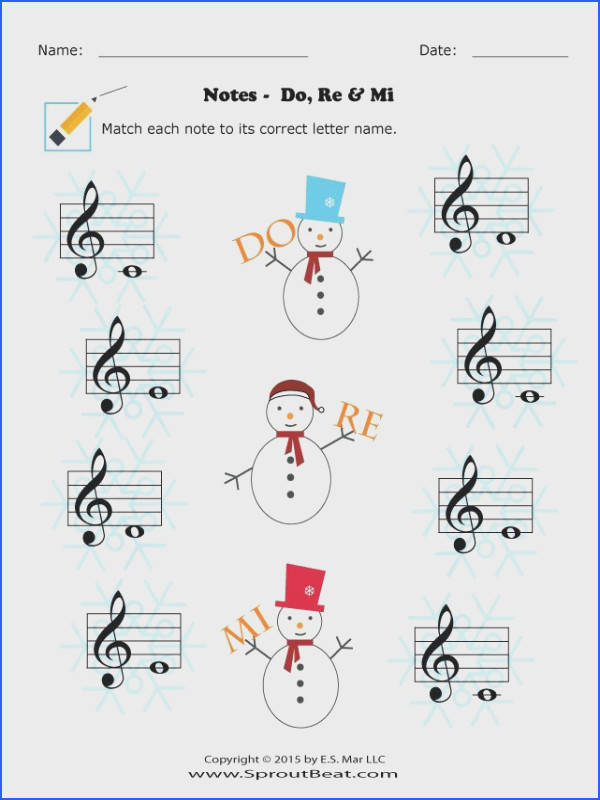 Music Worksheets – Holidays – Note Reading SproutBeat