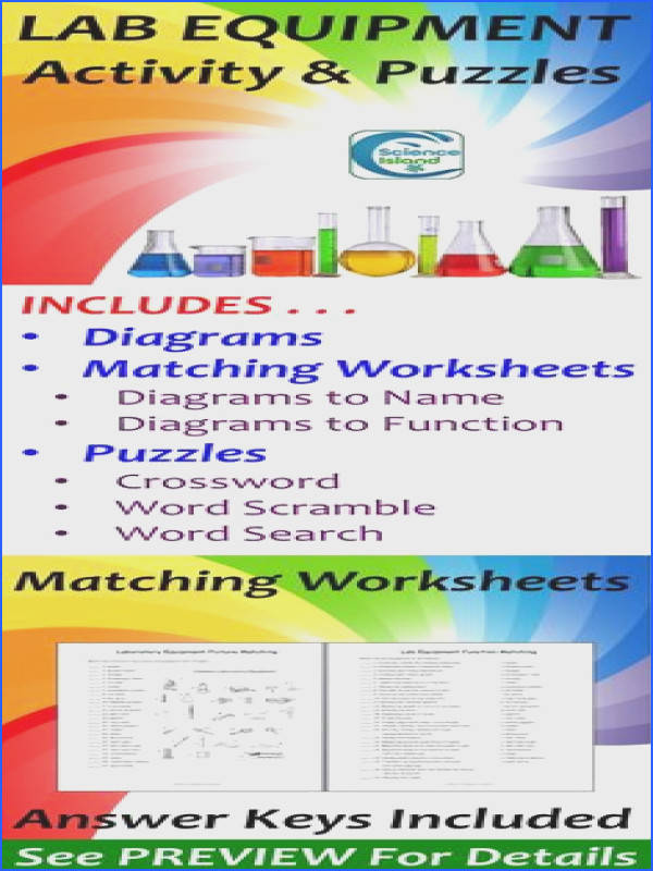 Includes labeled and lettered diagrams of mon lab equipment matching worksheets to assess identification and