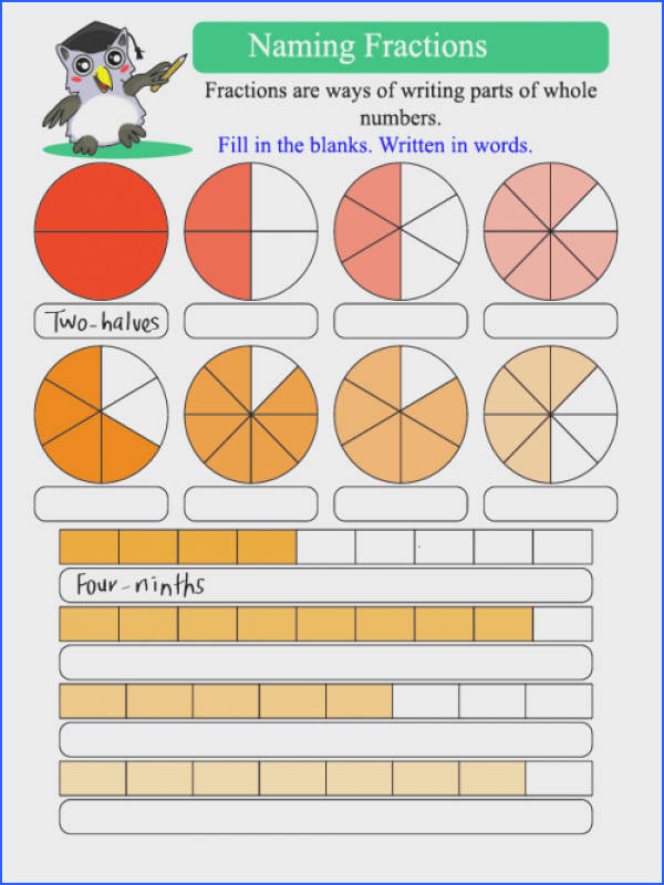 Math · Practice writing out fractions with this free worksheet