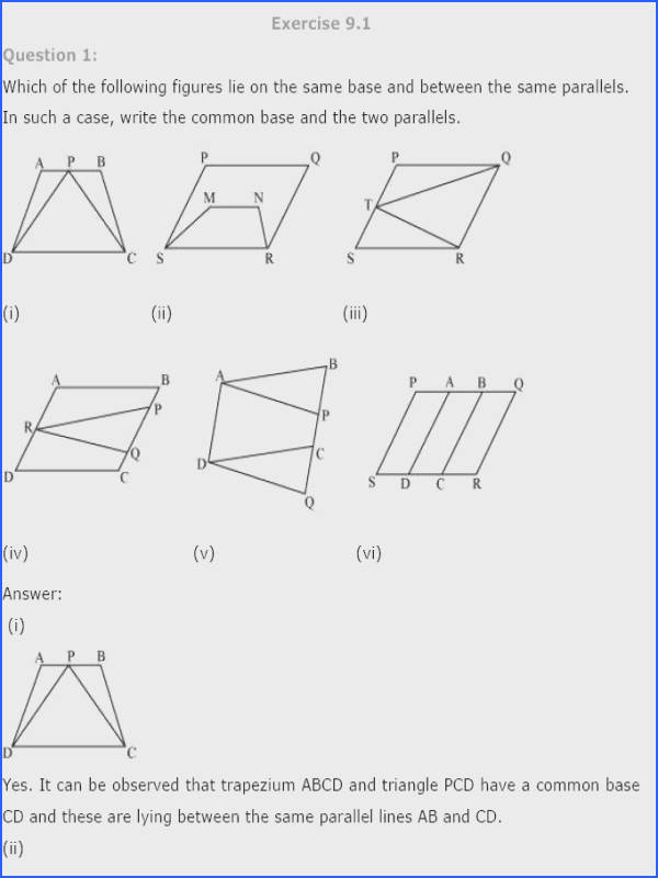 NCERT Solutions for Class 9th Maths Chapter 9 Areas of Parallelograms and Triangles