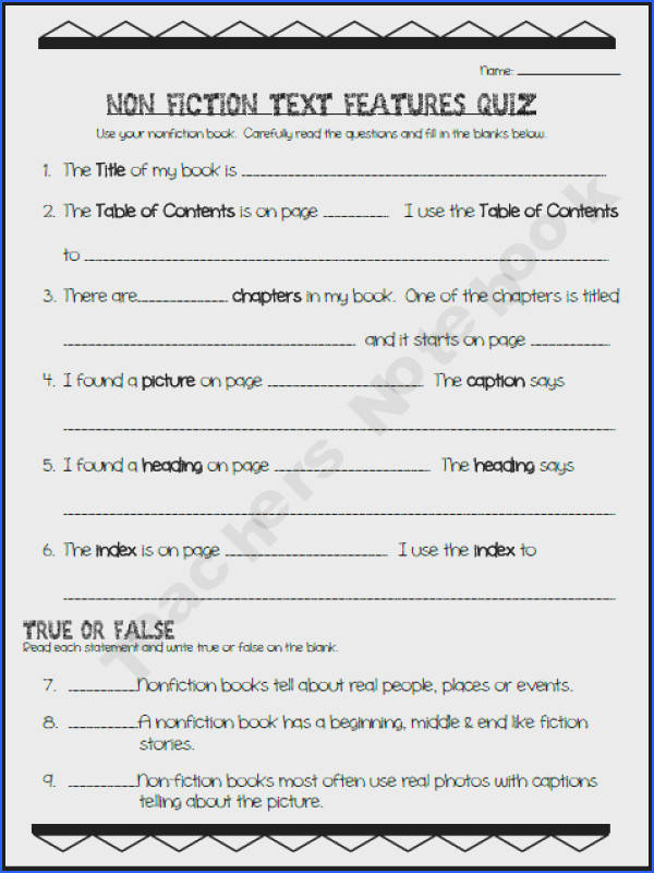 Non Fiction Text Features Quiz use as inspiration to make my own text features quiz