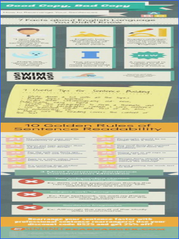 Learn how using our rearrange sentences worksheet with Infographic it will help you to write a more successful paraphrased document
