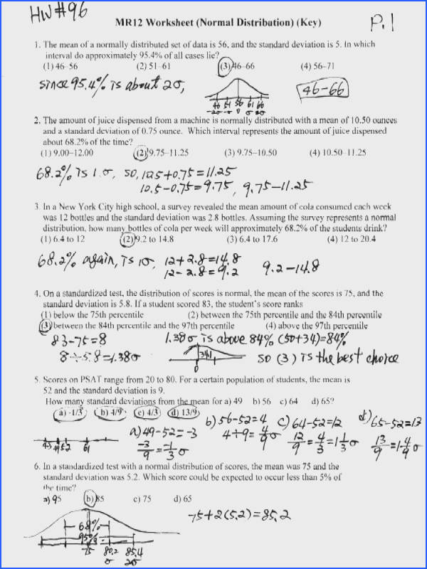 normal distribution worksheets high school normal best free printable worksheets