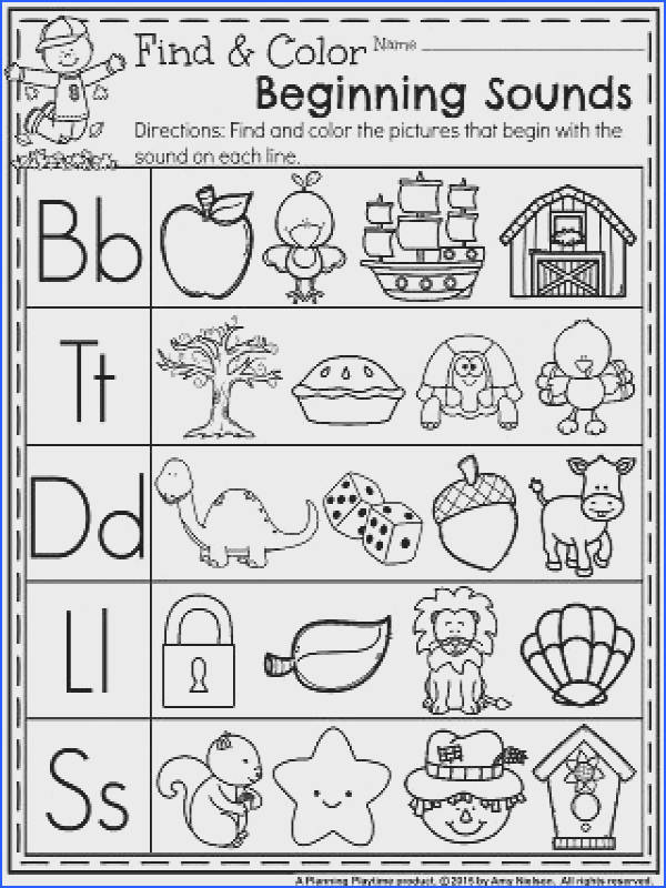 November Preschool Worksheets Find and Color Beginning Sounds