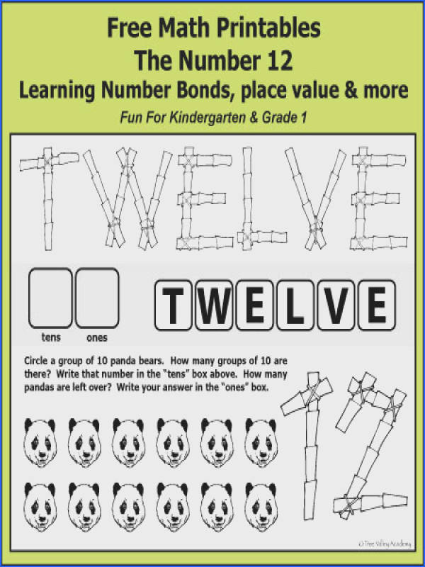Free math printables for Kindergarten and Grade 1 The number 12 Learning number bonds