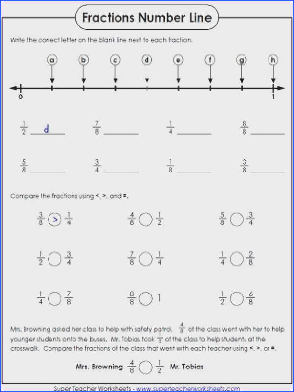 paring fractions on a number line professional illustration fraction worksheets include ordering equivalent and finding of